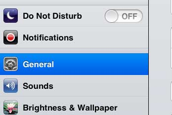 tap the general option
