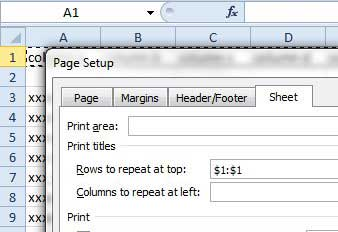 choose row to repeat at top of each printed page