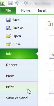 open the excel 2010 print menu