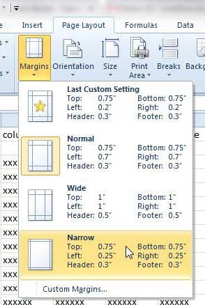 change excel 2010 margins