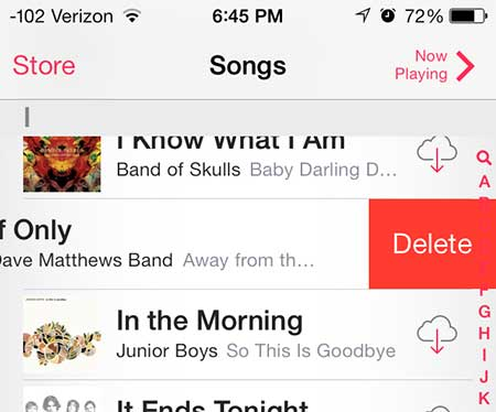 how to delete a song in ios 7 on the iphone 5