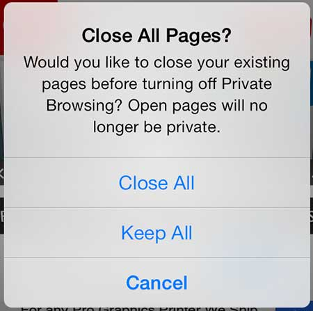 how to end a private browsing session in ios 7
