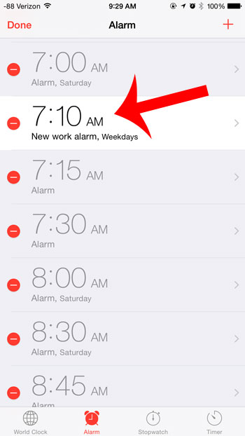 select the alarm to edit