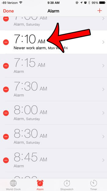 open the alarm to edit