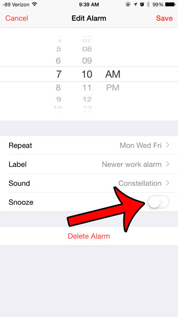 turn snooze on or off