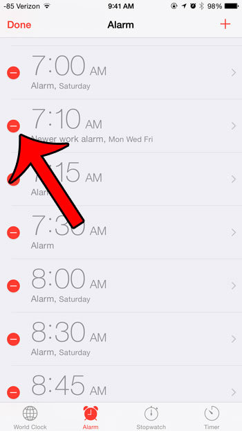 red circle to the left of alarm