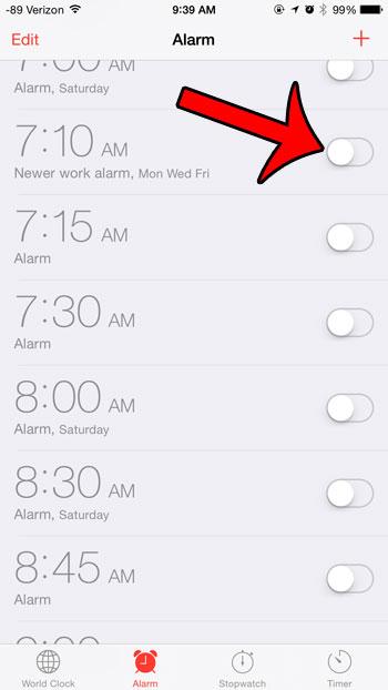 turn off an alarm
