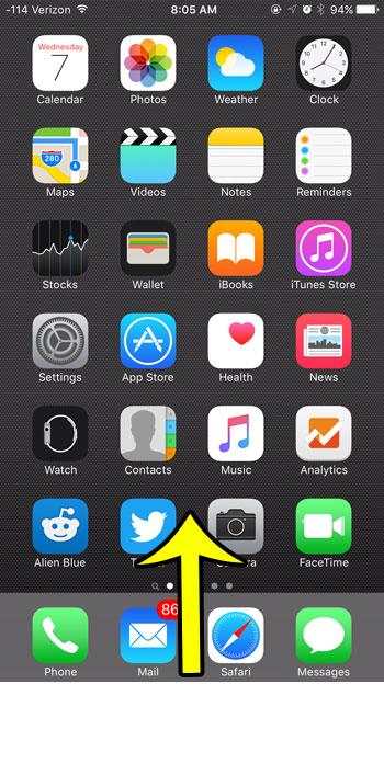 swipe up from bottom of screen