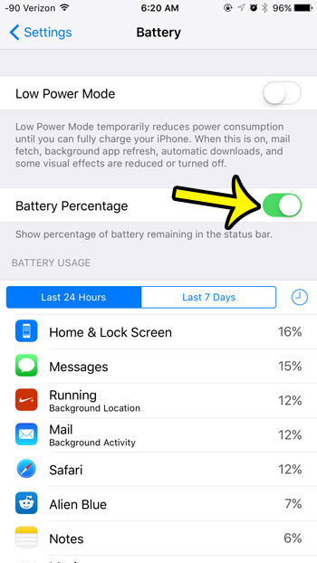 turn on the battery percentage option
