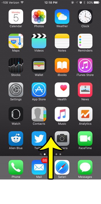 swipe up to open the control center