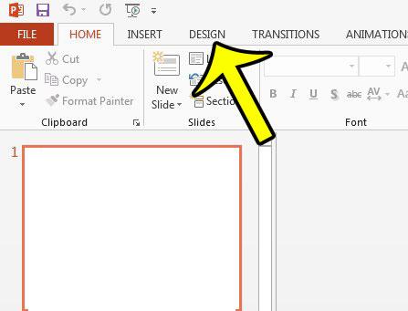 click the design tab