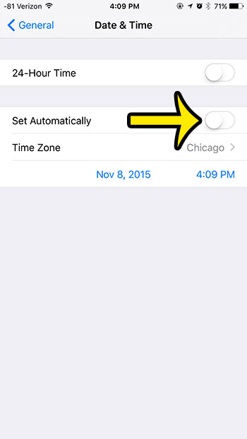 set time manually iphone