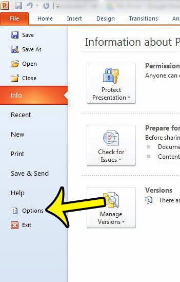 open powerpoint options window