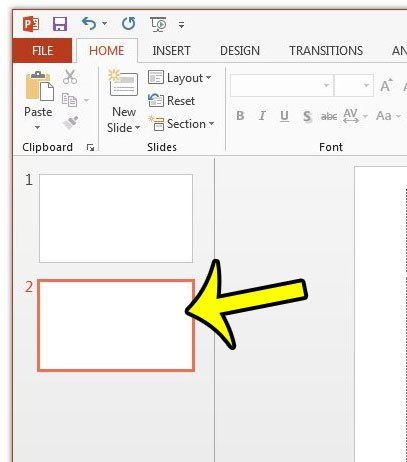 select a slide in powerpoint 2013