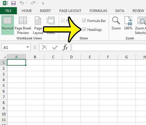 how to unhide headings in excel 2013