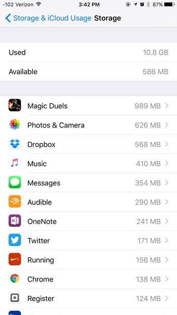 storage space used by each app