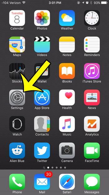 open the ios 9 settings menu