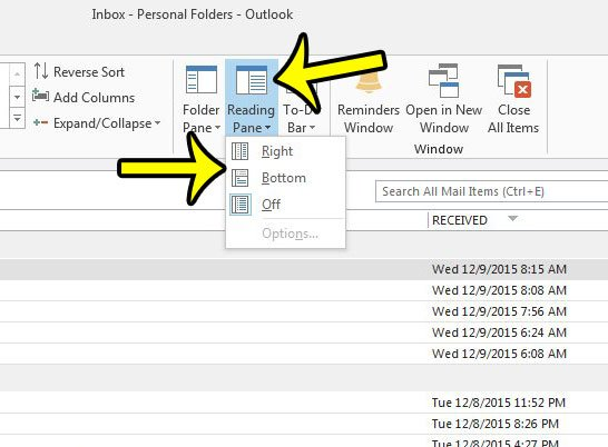 show the reading pane in outlook 2013