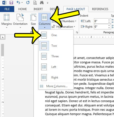 remove a column in word 2013