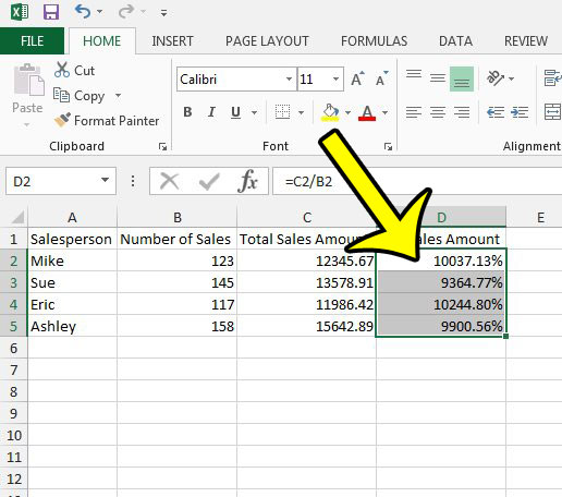 select cells with percentage symbols