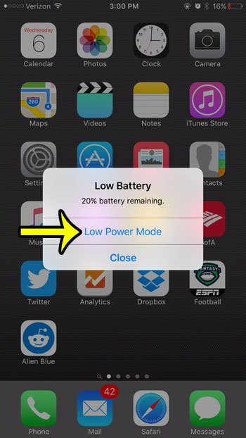 low battery mode pop up