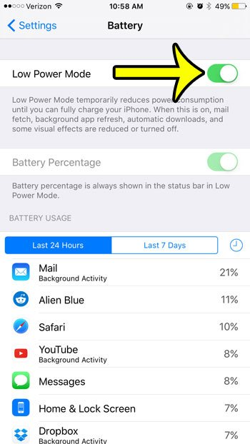 manually enable low power mode