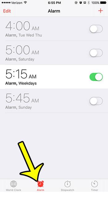 open alarm menu