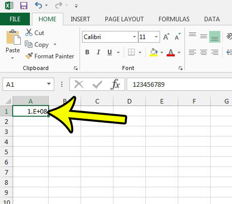 apply number formatting in excel 2013 - step 1