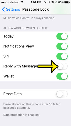 disable quick reply for messages on iphone