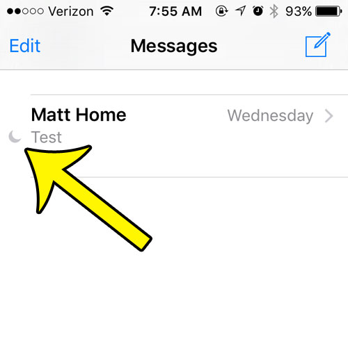 select the text message with the moon to the left of it