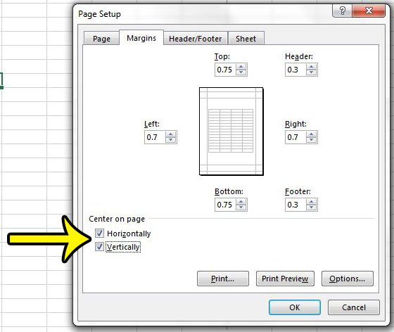 how to center horizontally and vertically in excel 2013