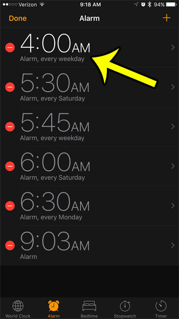 select the alarm