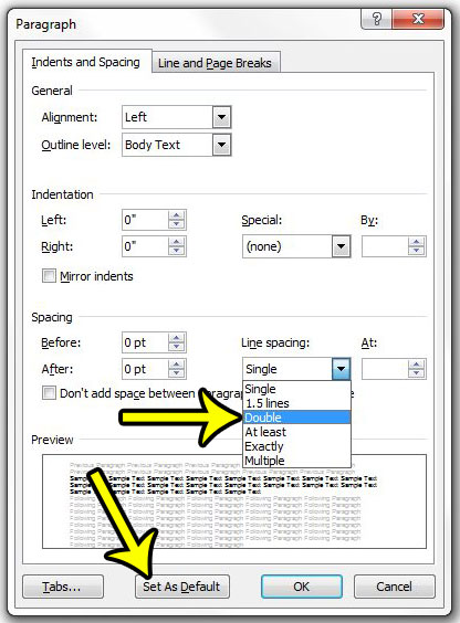 how to double space in word 2010 by default