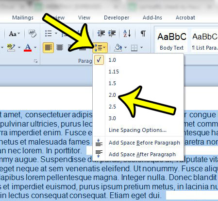 how to double space in Word 2010