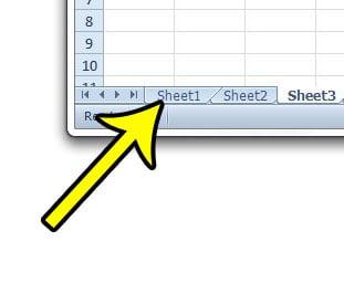 locate the Excel worksheet tabs