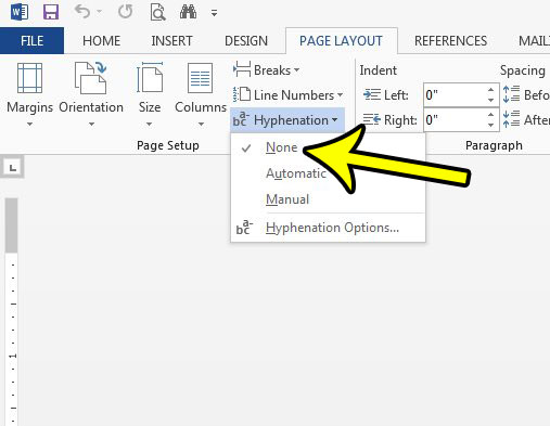 how to turn off hyphenation in word 2013