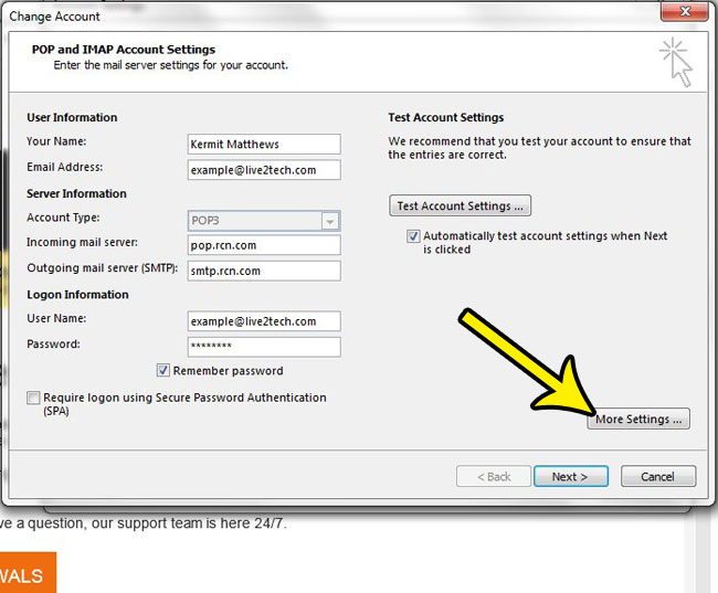 how to find port numbers in outlook 2013