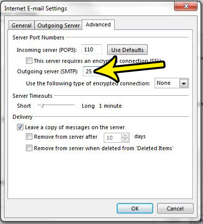 how to find the smtp port number in outlook 2013