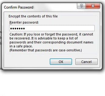 can i set a password for an excel file