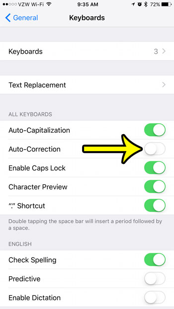how to turn off autocorrect on an iphone 7
