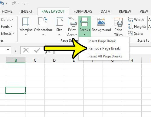 how to remove a page break in excel 2013