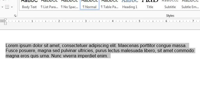 center selected text vertically in word