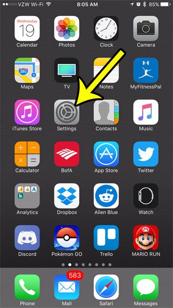 open the iphone settings menu