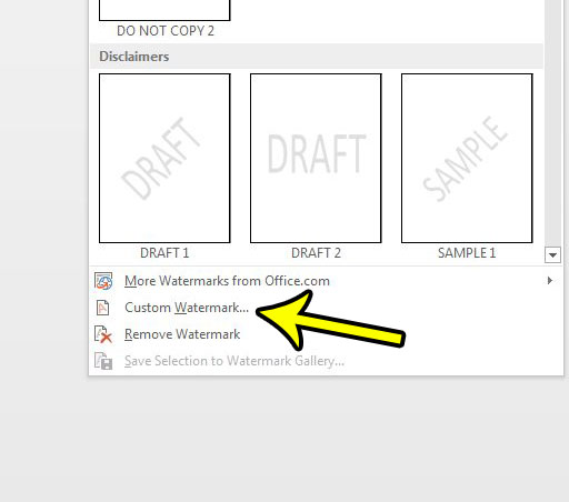 click the custom watermark option