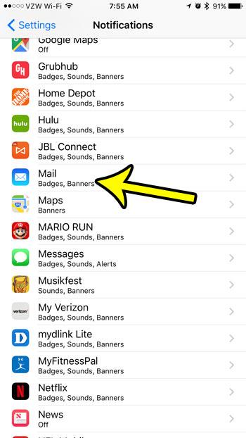 open iphone mail notifications menu