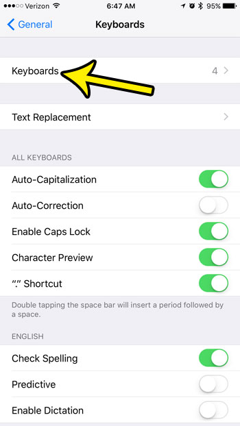 open the list of iphone 7 keyboards