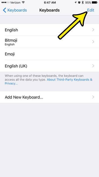 change list of iphone keyboards