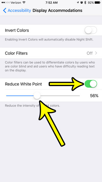 how to reduce white point on iphone 7