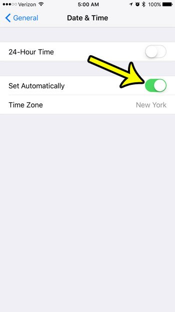 automatic time and date on the iphone 7