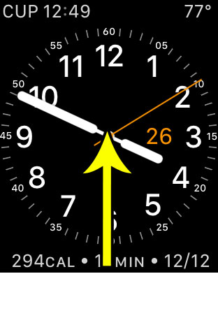 swipe up from bottom of watch face